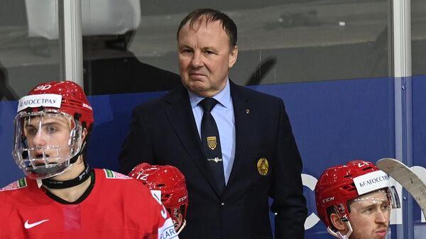 Главный тренер сборной Белоруссии Михаил Захаров во время матча группового этапа чемпионата мира по хоккею 2021 между сборными командами Белоруссии и Швейцарии.