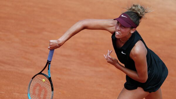 Tennis - WTA Premier 5 - Italian Open - Foro Italico, Rome, Italy - May 11, 2021 Madison Keys of the U.S. in action during her first round match against Sloane Stephens of the U.S. REUTERS/Guglielmo Mangiapane