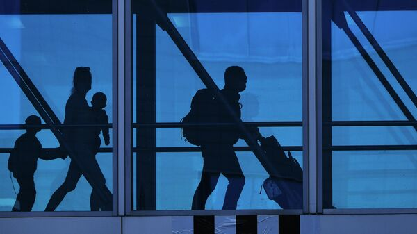 Пассажиры в аэропорту Домодедово имени М. В. Ломоносова