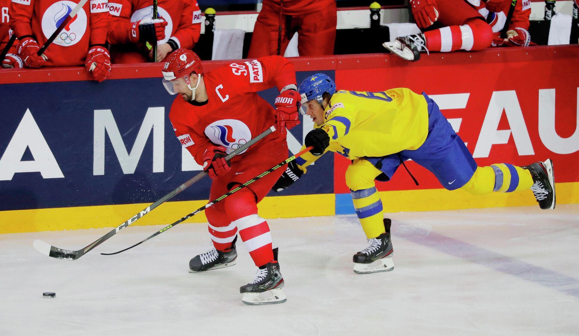Хоккеисты Антон Слепышев и Рикард Раккель - РИА Новости, 1920, 02.06.2021