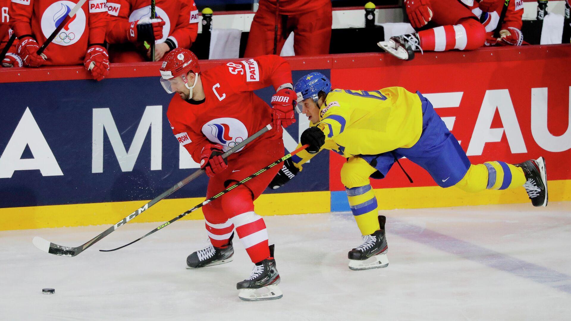 Хоккеисты Антон Слепышев и Рикард Раккель - РИА Новости, 1920, 01.06.2021