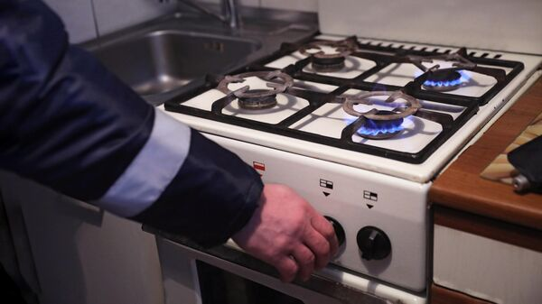 Сотрудник газовой службы проверяет газовую плиту