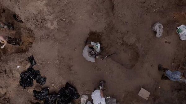 Раскопки на месте массового захоронения 40-х годов в Воронеже