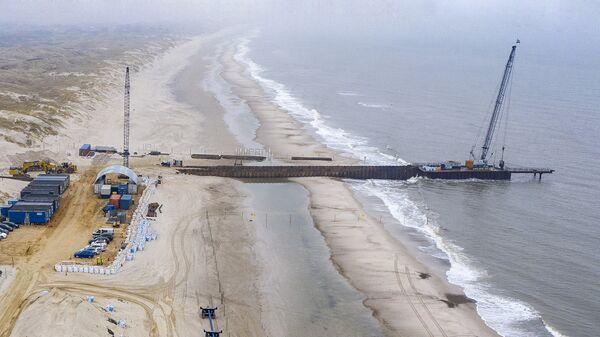 Строительная площадка пирса для газопровода Baltic Pipe на западе Дании