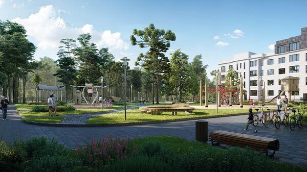 Игровые площадки в парке возле миниполиса 8 Кленов