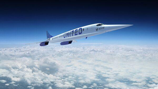 Релиз сверхзвукового самолета Boom Overture с логотипом авиакомпании United Airlines