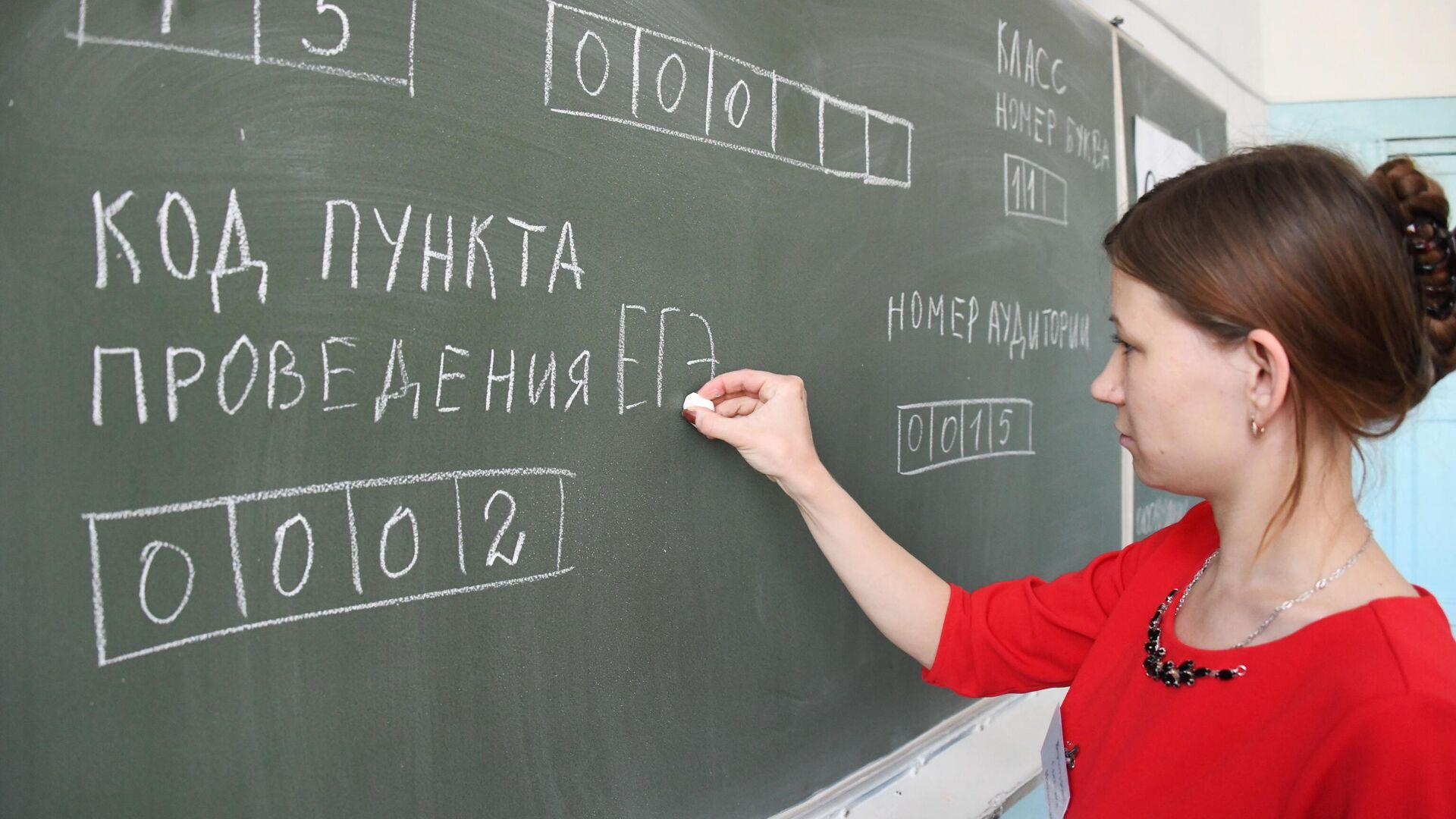Учитель пишет на доске образец заполнения экзаменационного листа перед началом ЕГЭ по информатике и ИКТ - РИА Новости, 1920, 19.07.2021