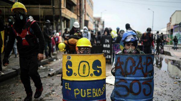 Антиправительственный митинг в Боготе, Колумбия