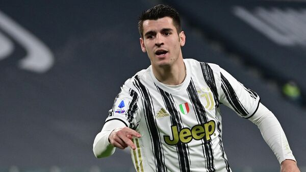 Juventus' Spanish forward Alvaro Morata celebrates after scoring a goal during the Italian Serie A football match between Juventus and Lazio at The Juventus Stadium in Turin, northern Italy on March 6, 2021. (Photo by MIGUEL MEDINA / AFP)