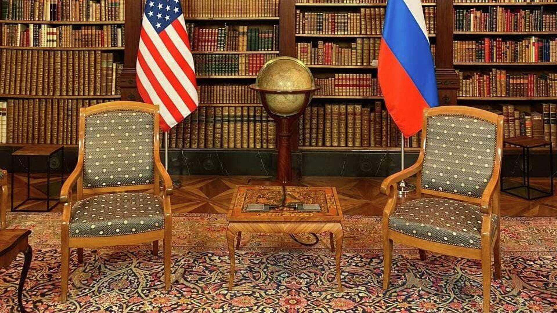 Комната, в которой пройдут переговоры президента России Владимира Путина и президента США Джо Байдена - РИА Новости, 1920, 16.06.2021