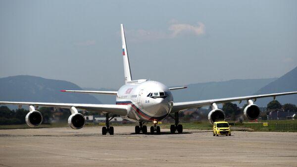 Самолет президента РФ Владимира Путина в аэропорту Женевы