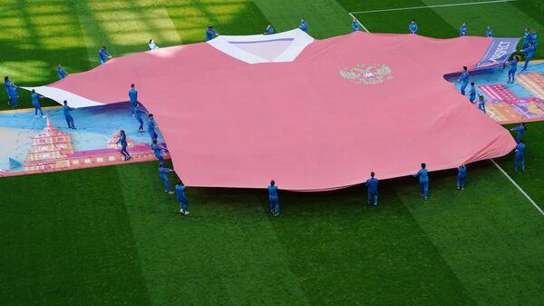 Церемония перед началом матча Финляндия - Россия