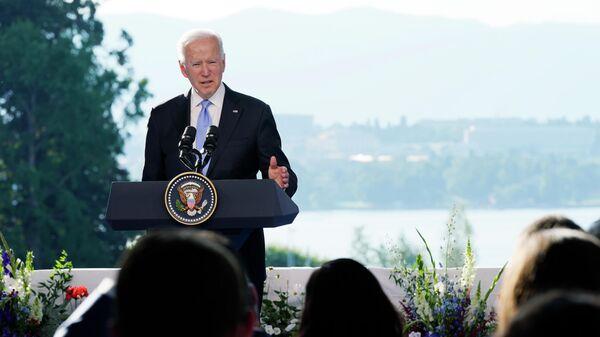 Президент США Джо Байден на пресс-конференции по итогам переговоров с президентом России  Владимиром Путиным в Женеве