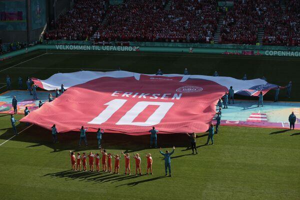 Акция в поддержку полузащитника сборной Бельгии Кристиана Эриксена