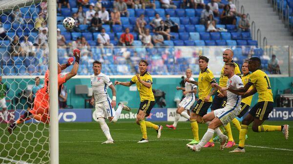 Игровой момент матча Швеция - Словакия