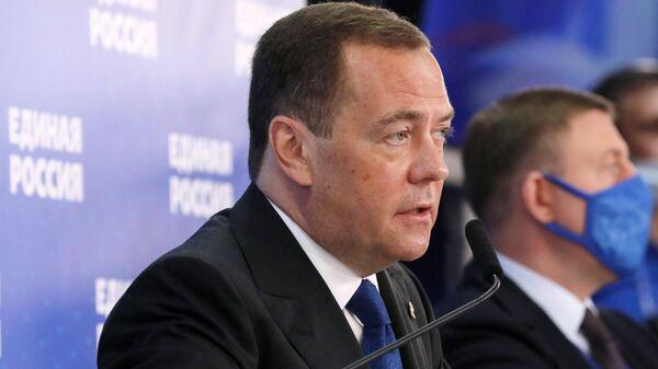 Председатель партии Единая Россия Дмитрий Медведев на совместном заседании Высшего и Генерального советов партии Единая Россия
