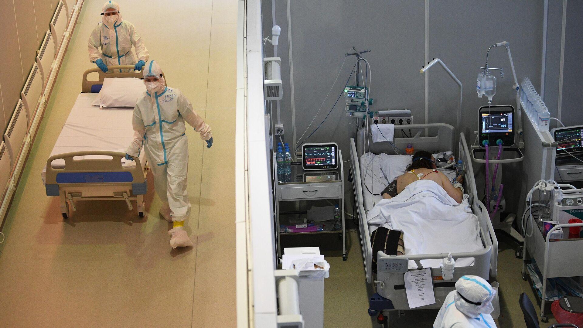 Медицинские работники и пациенты во временном госпитале для пациентов с COVID-19 в Москве - РИА Новости, 1920, 09.10.2021