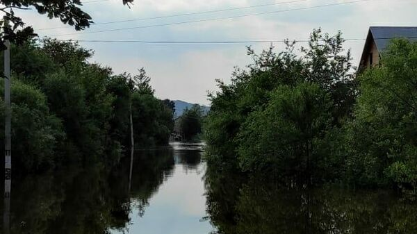 Подтопленная улица из-за резкого подъема уровня в бассейне реки Зеи после прошедших сильных дождей