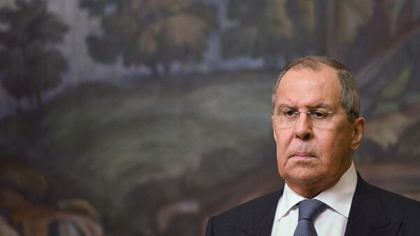Министр иностранных дел РФ Сергей Лавров на пресс-конференции