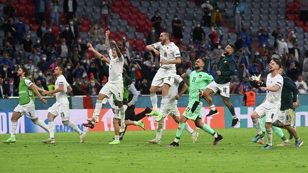 Сборная Италии после четвертьфинала с бельгийцами на ЕВРО-2020