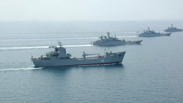 Корабли черноморского флота во время учений