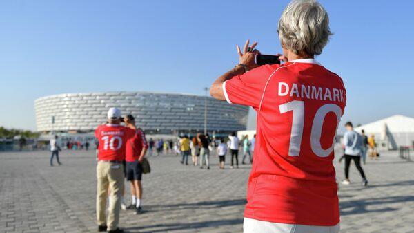 Болельщики сборной Дании возле стадиона ЕВРО-2020 в Баку