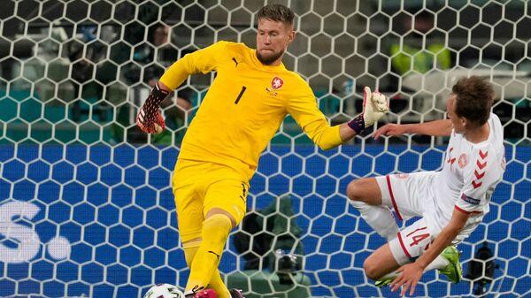 Вратарь сборной Чехии Томаш Вацлик (слева) и нападающий сборной Дании Миккель Дамсгорд