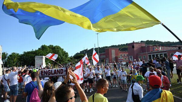 Болельщики сборных Англии и Украины