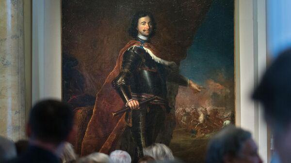 Прижизненный парадный портрет Петра I работы придворного художника прусского короля Антуана Пэна представлен на открытии выставки в Эрмитаже