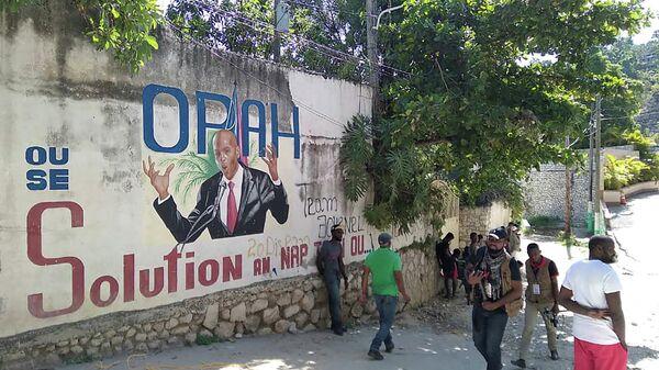 Граффити с портретом президента Гаити Жовенеля Мойза в Порт-о-Пренсе