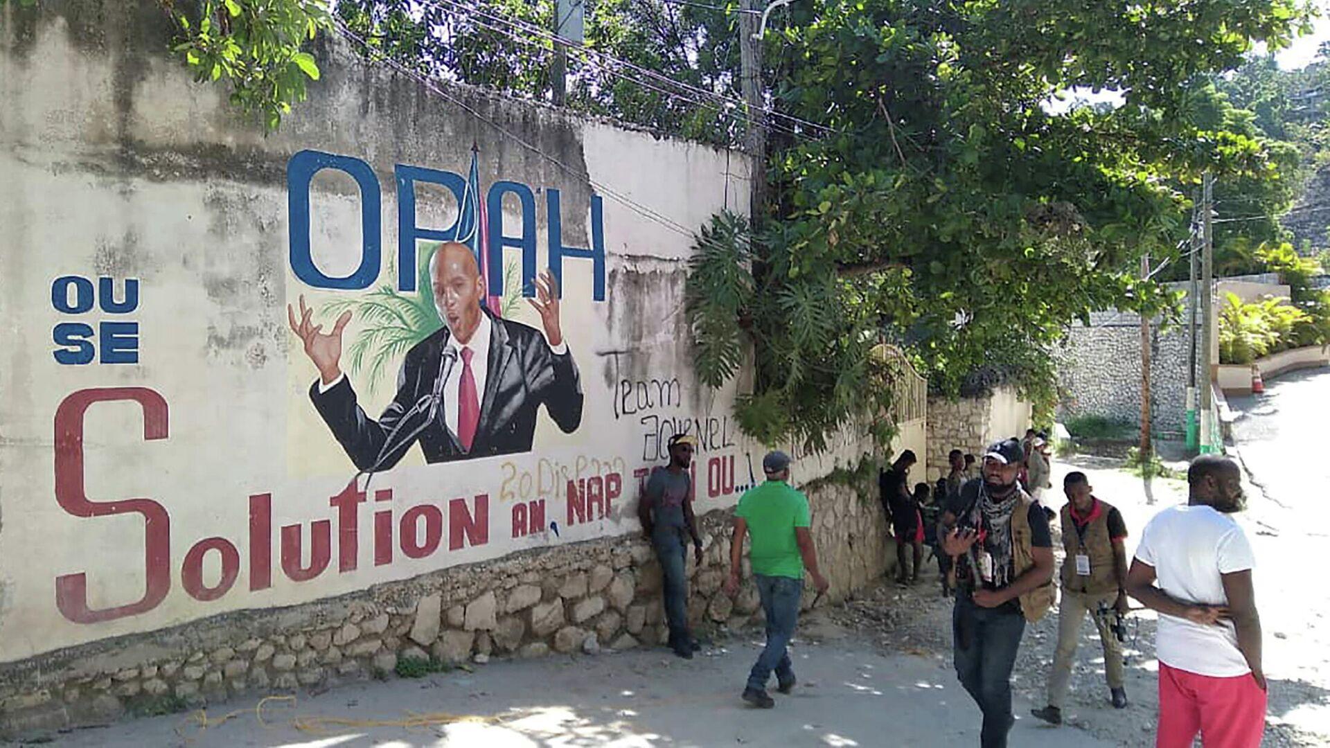Граффити с портретом президента Гаити Жовенеля Мойза в Порт-о-Пренсе - РИА Новости, 1920, 08.07.2021