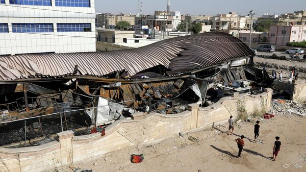 Отделение для больных коронавирусом в больнице города Насирия в Ираке, где произошел пожар