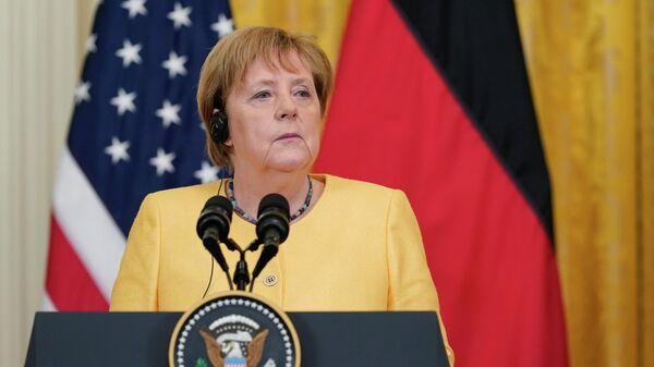 Канцлер ФРГ Ангела Меркель на пресс-конференции с президентом США Джо Байденом