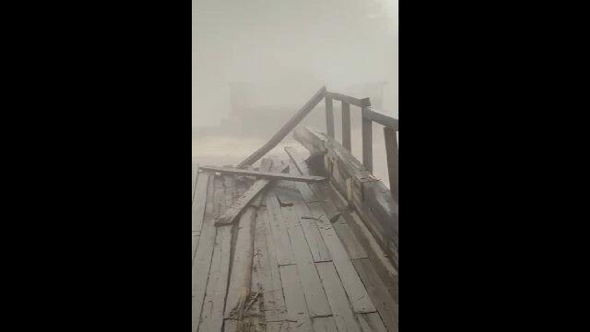 Кадры разрушенного паводком моста через реку Ургал в Хабаровском крае - РИА Новости, 1920, 16.07.2021