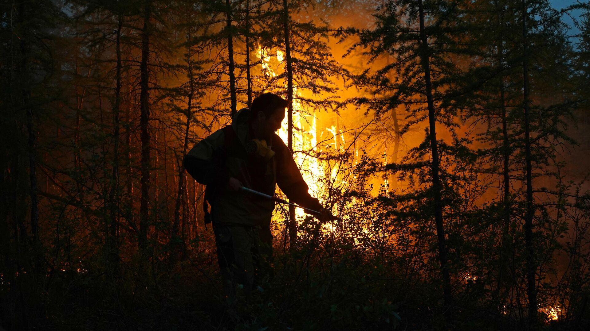 Тушение лесного пожара в Якутии - РИА Новости, 1920, 08.09.2021