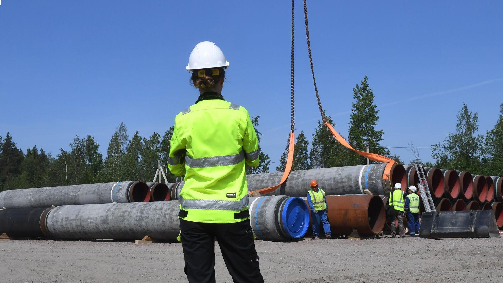 Рабочие на участке строительства газопровода Северный поток-2 - РИА Новости, 1920, 27.09.2021