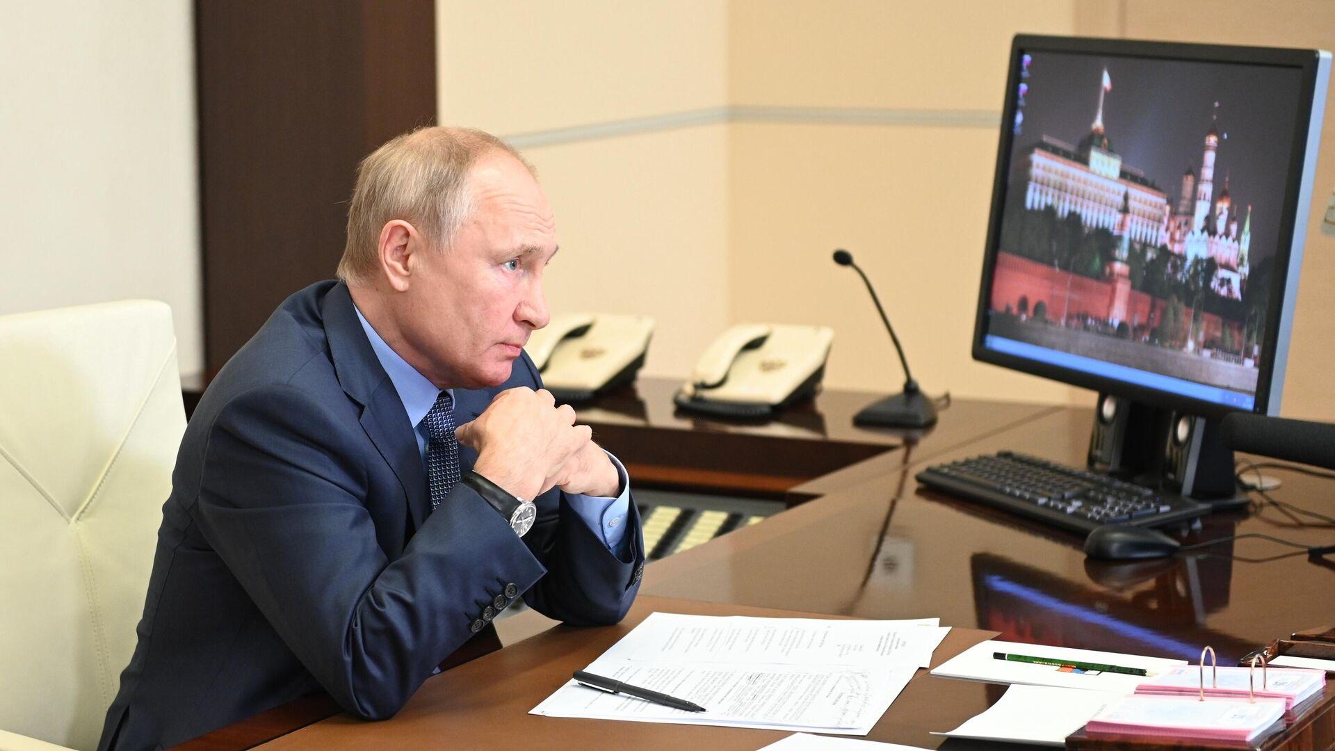 Президент РФ Владимир Путин проводит совещание с членами правительства РФ в режиме видеоконференции - РИА Новости, 1920, 28.07.2021