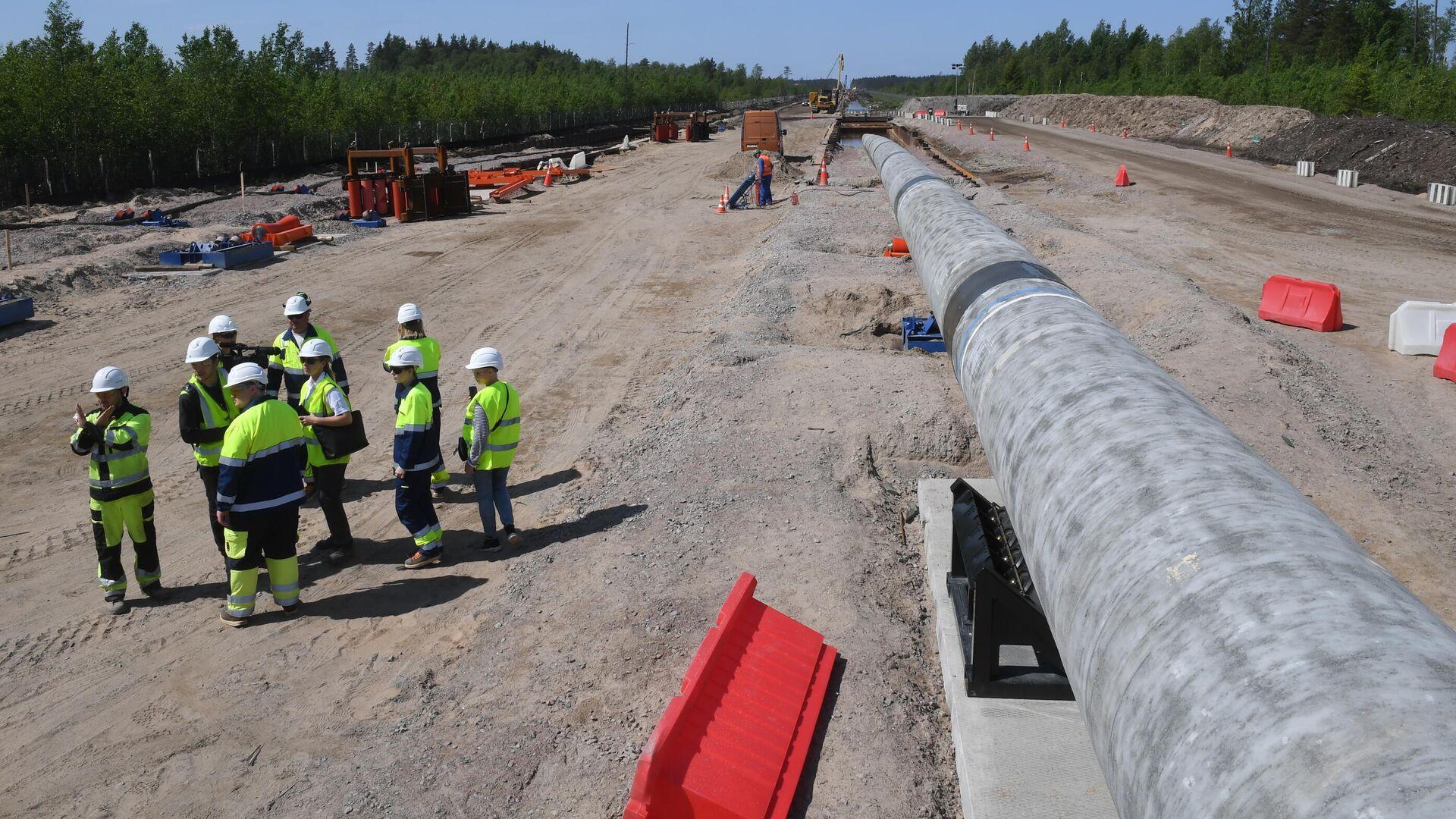 Рабочие на участке строительства газопровода Северный поток-2 в Ленинградской области - РИА Новости, 1920, 24.07.2021