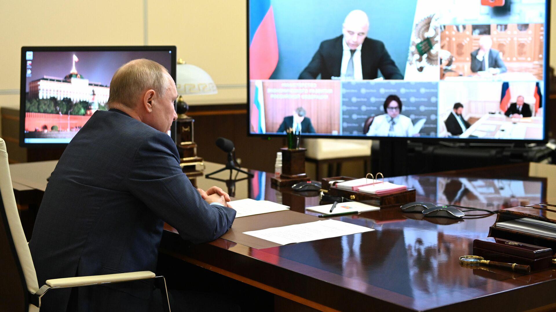 Владимир Путин проводит совещание по экономическим вопросам в режиме видеоконференции - РИА Новости, 1920, 27.07.2021