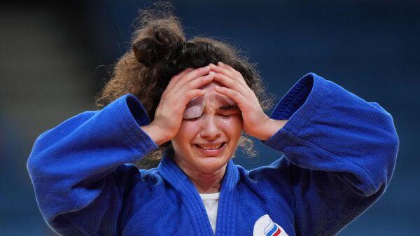 Российская спортсменка, член сборной России (команда ОКР) Мадина Таймазова радуется победе в полуфинальных соревнованиях по дзюдо в весовой категории до 70 кг среди женщин против Барбары Матич (Хорватия) на XXXII летних Олимпийских играх.