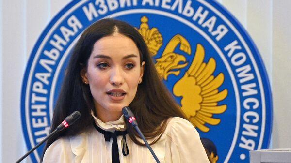 Певица Виктория Дайнеко, возглавившая общефедеральную часть списка партии Зеленая альтернатива, на заседании Центральной избирательной комиссии РФ