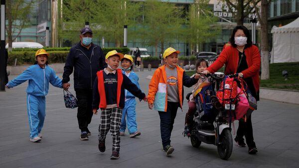 Семья с детьми в Пекине, Китай