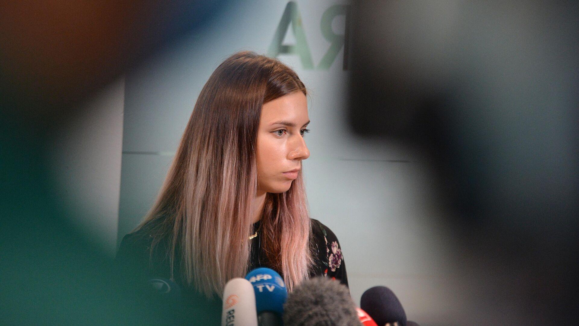 Белорусская легкоатлетка Кристина Тимановская во время пресс-конференции в Варшаве - РИА Новости, 1920, 07.08.2021