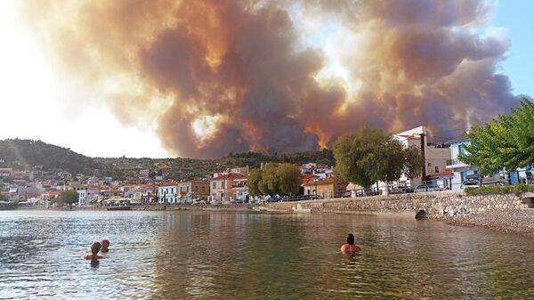 Природные пожары на острове Эвия, Греция