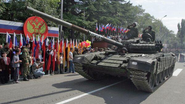 Военный парад прошел в Цхинвали в рамках празднования Дня независимости Южной Осетии. 20 сентября 2008