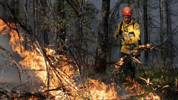 Сотрудник ФБУ Авиалесоохрана тушит лесной пожар в районе Хангаласский улус в Якутии