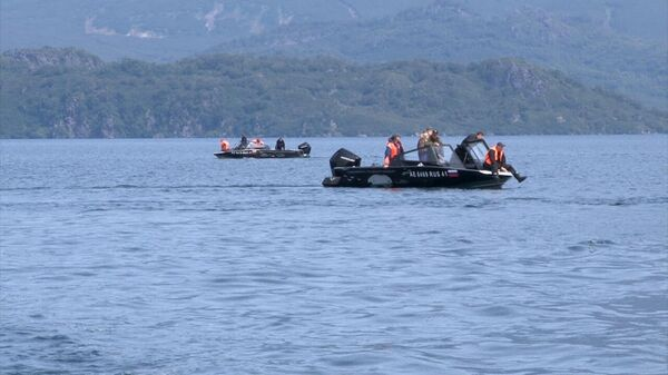 Поисковые работы на месте крушения вертолета Ми-8 в Курильском озере в районе Кроноцкого заповедника на Камчатке