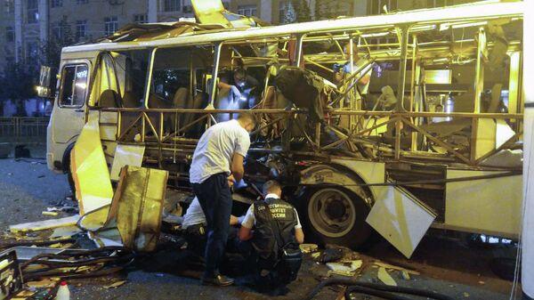 Место взрыва пассажирского автобуса в Воронеже