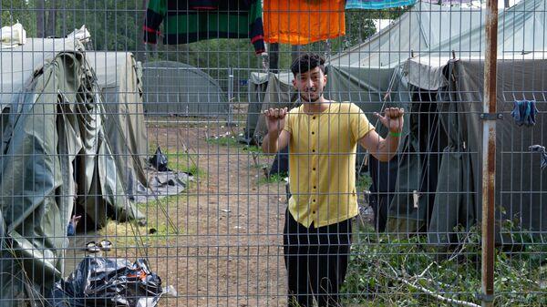 Лагерь мигрантов на литовско-белорусской границе