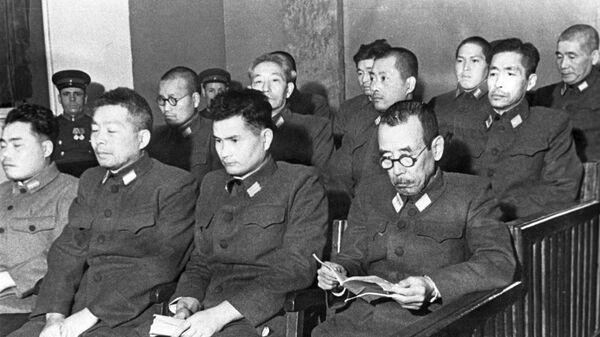 Подсудимые по делу бывших военнослужащих японской армии, обвиняемых в подготовке к применению бактериологического оружия